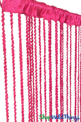 """Hot Pink Braided Curtain with Metallic Flecks for Walls, Doors and Windows,  6' 10"""" Long Decorative Curtain by ShopWildThings.com"""