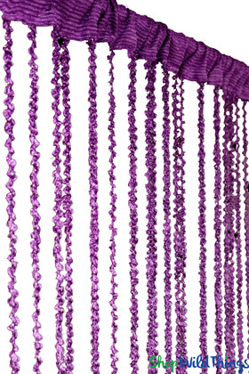 Dark Purple Braided Curtain with Metallic Flecks for Walls, Doors and Windows,  6' Long Decorative Curtain by ShopWildThings.com