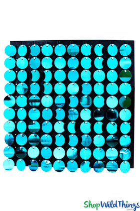 "Shimmer Sequin Wall Backdrop Panel 12""x12"" - Metallic Turquoise"