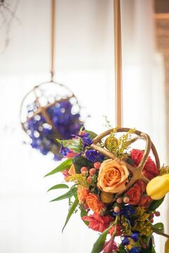Metal Sphere Centerpieces-Creative Floral Designs