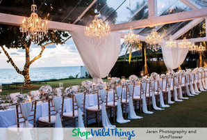 Outdoor Weddings Sparkle with Crystal Chandeliers