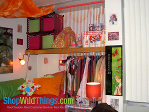 Dorm Room Decor - Beaded Curtains and Chandeliers