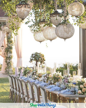 Suspended Florals and Crystal Chandeliers