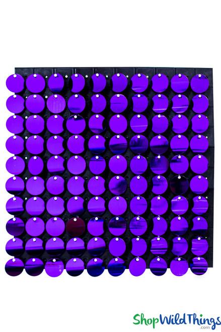 "Shimmer Sequin Wall Backdrop Panel 12""x12"" - Metallic Purple"