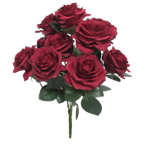 Wedding Flower Bouquets | Artificial Burgundy Rose Bush Spray | Silk Floral Centerpieces | ShopWildThings.com