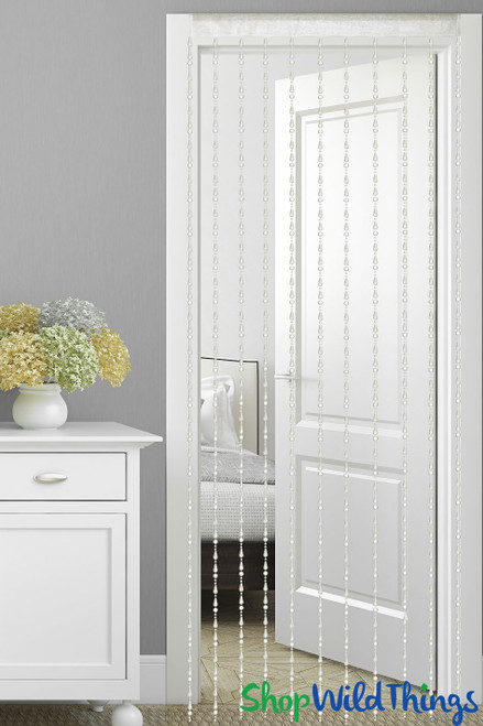7' Ivory Beaded Backdrop Curtain With Fabric Top | ShopWildThings.com