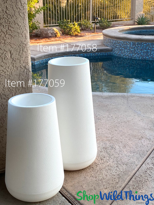 Tall Indoor Outdoor Plastic Planters Size Comparison ShopWildThings.com