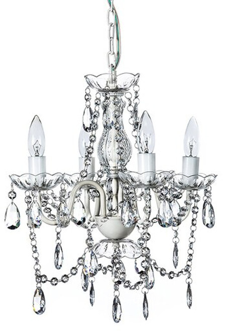 """COMING SOON! Chandelier Bohemian White & Clear - 12.5""""H x 15""""W - 4 Lights - With Plug - Collapsible"""