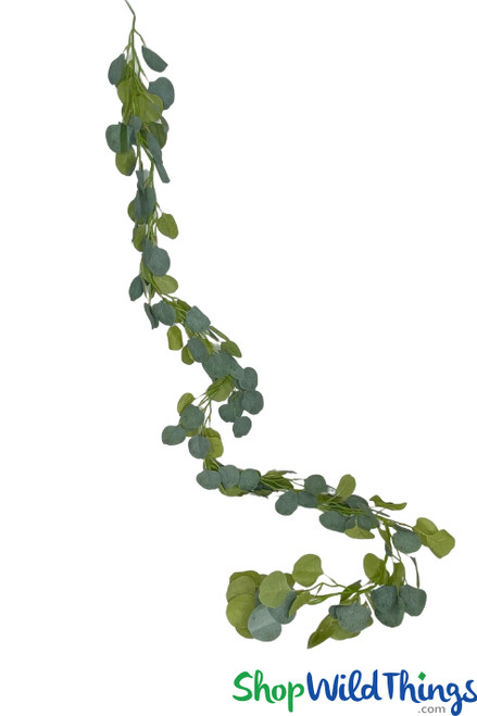 ShopWildThings.com Silver Dollar Eucalyptus Garland for Tabletop Greenery Designs and Wedding