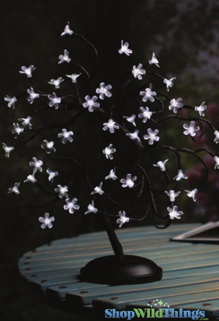 """18"""" LED Lighted Bonsai Tree, 48 Cool White Blossoms,  ShopWildThings.com"""
