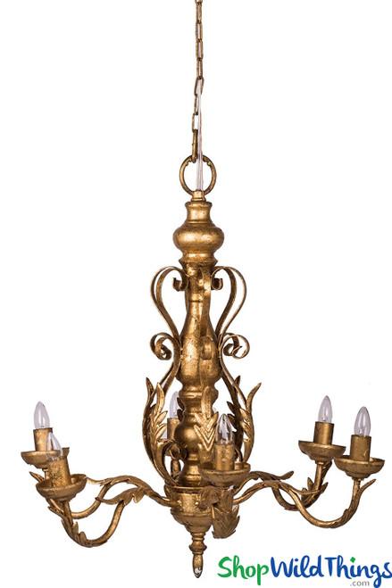 Multi-Arm Gold Chandelier, 6 Light Decorative Gold Leaf Chandelier Fixture   ShopWildThings.com