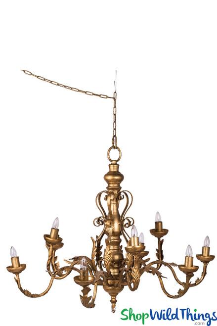 Multi-Arm Gold Chandelier, 10-Light Decorative Gold Leaf Chandelier Fixture   ShopWildThings.com