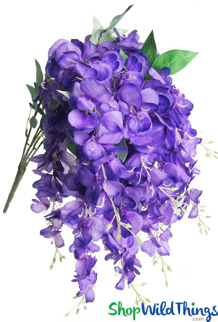 Draping Purple Wisteria Bush Spray, 15 Cascading Shoots for Bridal Bouquet or Silk Centerpieces by ShopWildThings.com