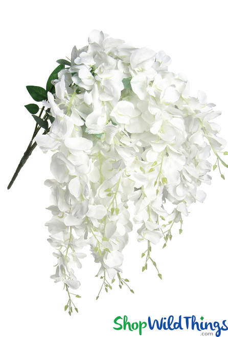 Draping White Wisteria Bush Spray, 15 Cascading Shoots for Bridal Bouquet or Silk Centerpieces by ShopWildThings.com