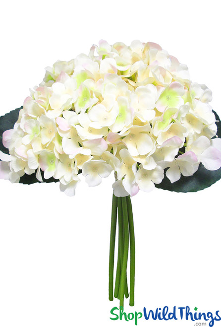 "Soft Peach Hydrangea Bouquet Bush, 12"" Tall 6 Stem Bendable Centerpiece Flowers, Artificial Wedding Bouquet Bundle, Quality Silk Florals by ShopWildThings.com"
