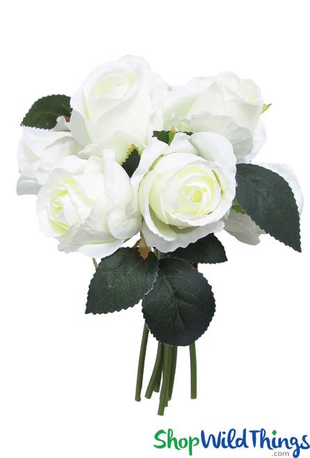 Cream White Rose Bouquet, 8 Pc Bundle, Artificial Wedding Bouquet, Bendable Centerpiece Flowers, Quality Silk Florals by ShopWildThings.com