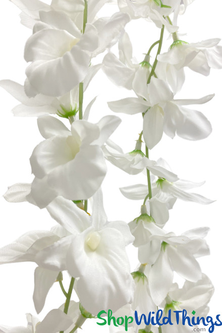 Pure White Cattleya Orchid Garland, 6.5Ft Artificial Flowering Vine, Soft and Flexible by ShopWildThings.com