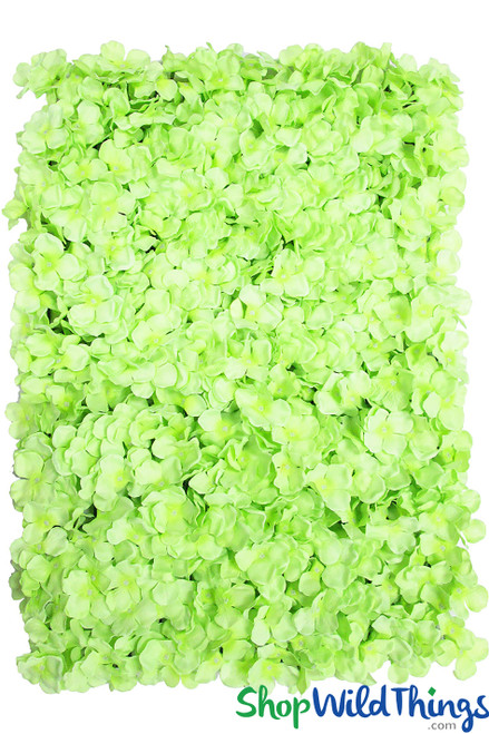 Lime Green Silk Hydrangea Faux Flowers Backdrop Wall for Party Decoration, Photo Backgrounds ShopWildThings.com