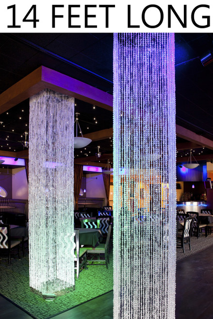 Brilliant  Square Crystal Non-Iridescent Column - 14 Feet Long - PREMIUM QUALITY BEADS!