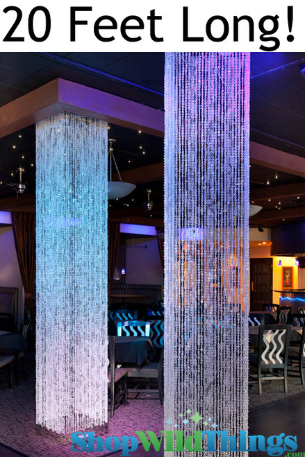Brilliant  Square Crystal Non-Iridescent Column - 20 Feet Long - PREMIUM QUALITY BEADS!