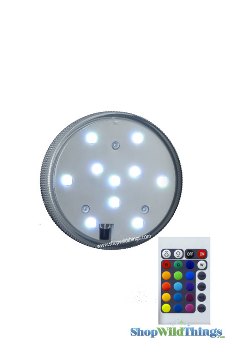 """LED Colored Disc w/Remote -  Submersible -  2.75"""" RGB & White Lights"""