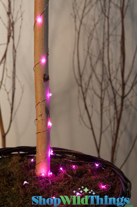 "LED Light Strand PINK - Waterproof - 72"" Long - Battery Operated - 19 Lights"
