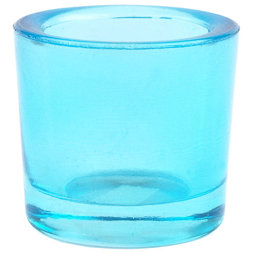 """Heavy Votive & Tealight Holder, Recycled Glass - """"Cora"""" Aqua Blue Glass Candle Holder"""