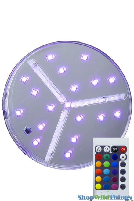 "LED Colored Light Base w/Remote -  6"" RGB & White Lights"