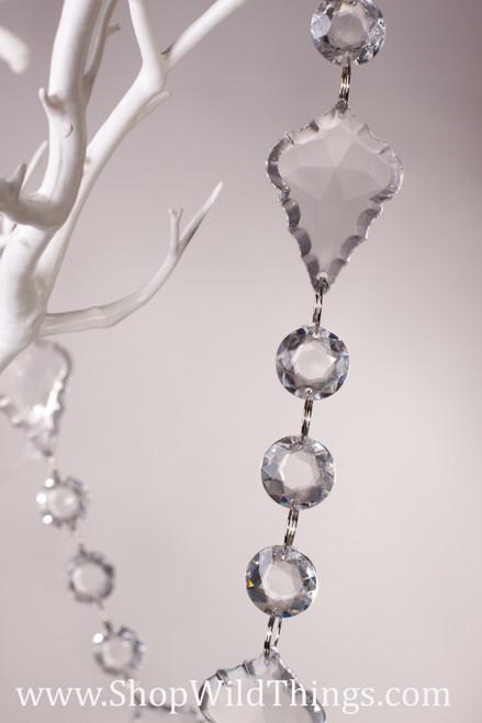 """""""Gigi"""" 30 Foot Long - Circles & Large Pendants Garland - Hand Strung - Crystal Clear"""