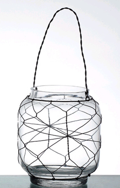 """""""Marissa"""" Glass Candleholder with Wire - Tabletop or Hanging"""