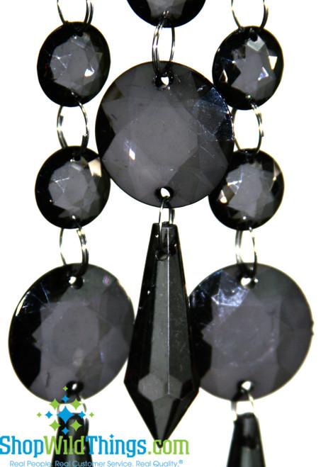 Acrylic Garland Strands - Smoke Black Rounds (1 dozen strands)