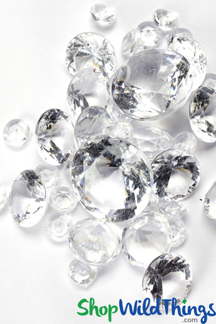 Acrylic Diamonds - Clear Assorted Sizes - 1lb Bulk