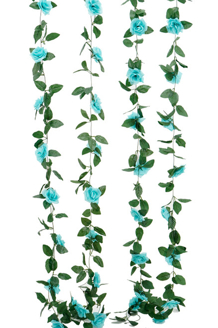 Flower Garland - Silk Rose - 8' - Aqua - BUY MORE, SAVE MORE!