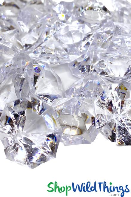 "Diamonds Bulk - Large 1.25"" - Bag of 58 Pcs - Clear - Sasha"