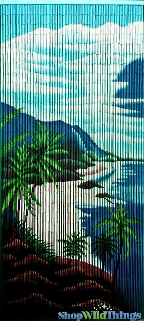 "COMING SOON! Bamboo Painted Beaded Curtain ""Makaha"" - 90 Strands"