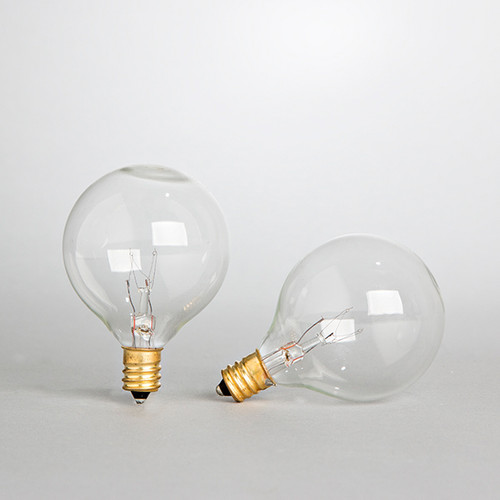 """Bistro String Light Replacement Bulbs - Clear, 2 Pack, G40 (1.5"""" Bulbs)"""