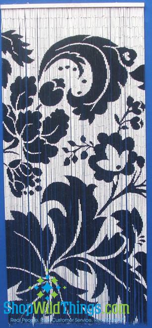 Black and White Swirly Flowers  Painted Bamboo Beaded Curtain