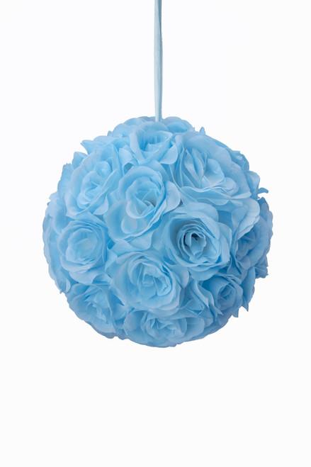 """Flower Ball - Silk Rose - Pomander Kissing Ball 8.5"""" - Blue - BUY MORE, SAVE MORE!"""
