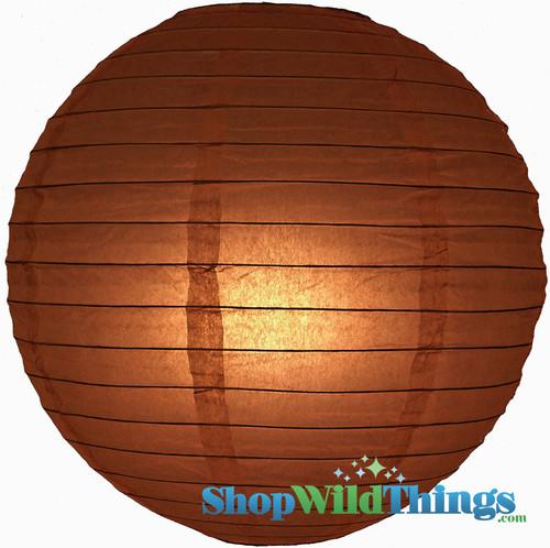"""Round Paper Lantern 8"""" Brown"""