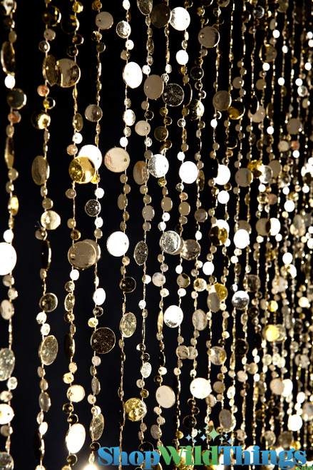 Bubbles Beaded Curtain - Gold - 3 ft x 6 ft