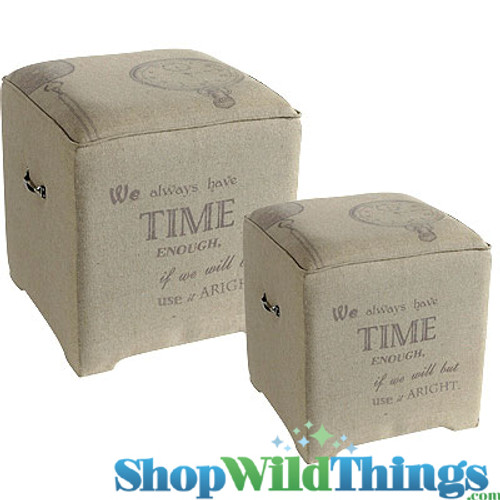 """Johann Wolfgang von Goethe Burlap End Tables - Set of 2! 20"""" and 16"""" Square"""