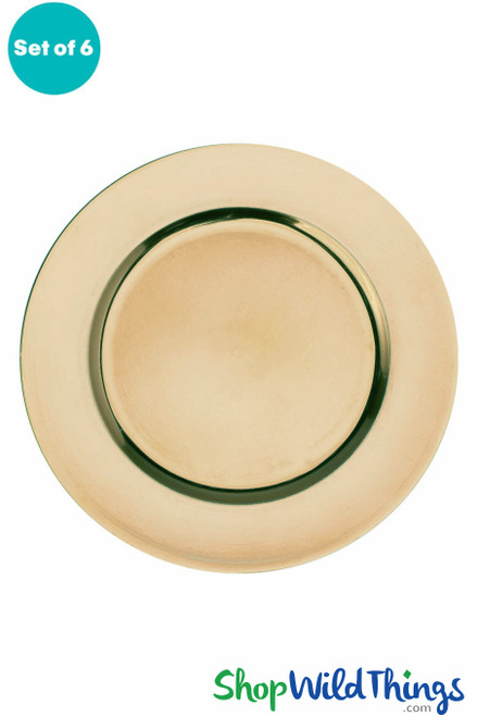 """Charger Plate - Brushed Gold Plain Trim 13"""" Set of 6"""
