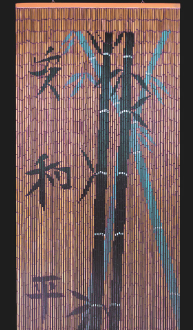 """Bamboo Painted Curtain Chinese Characters - """"Peace Ying Yang"""" -Scene"""
