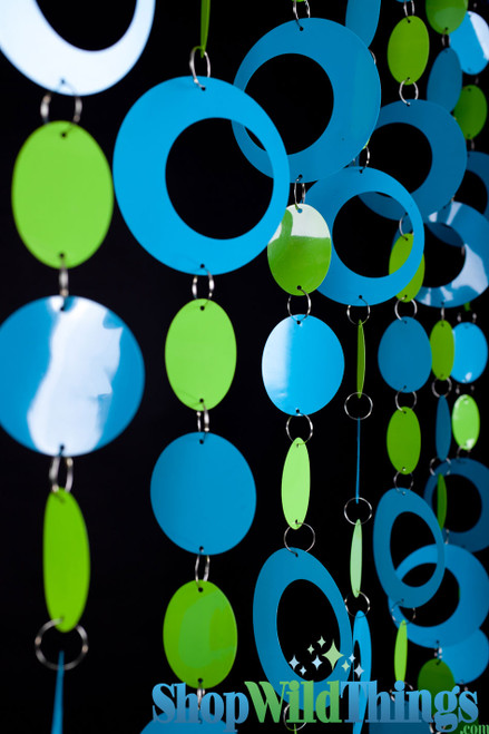 Hoops Beaded Curtain -  Blue & Lime - 3 ft x 6 ft