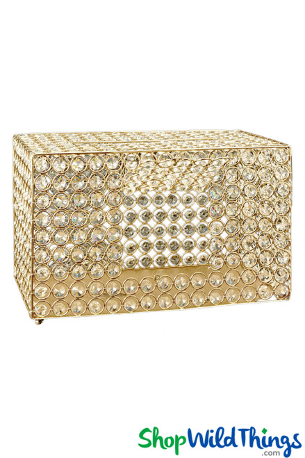 "Real Crystal Beaded Card, Money, Donation Box - Gold ""Prestige"" - 13 3/8"""
