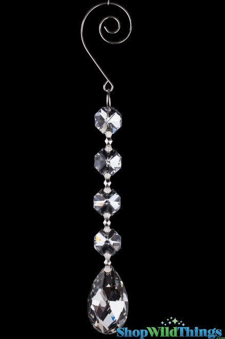 """Crystal Hanging Prism, Glass - Mirrored Strand 6.5"""" - """"Kiera"""" Set of 12 - Silver"""