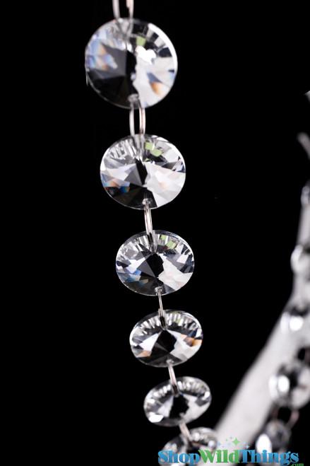 "Real Glass Crystals Beaded Hanging Garland Ava, Non-Iridescent Circles - 36 1/2"" Strands"
