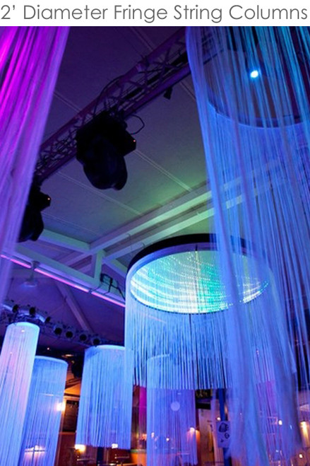 Custom String Curtain Columns - 2' Diameter / 6' to 20' Long - Choose Color, Length, Fire Treatment
