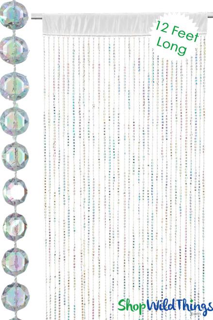 Diamonds Beaded Curtain w/Satin Rod Pocket - Crystal Iridescent Over 12'