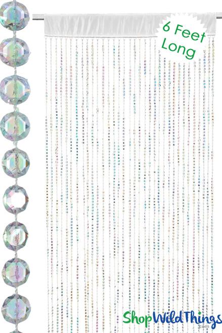 Diamonds Beaded Curtain w/Satin Rod Pocket - Crystal Iridescent 6 Feet Long